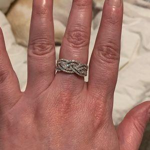 Jewelry - 10K WG 1.55ctw Genuine Diamond Layered Braid Ring